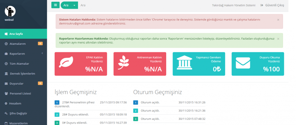 Hakem Yönetim Sistemi Ana Sayfa Tanıtım